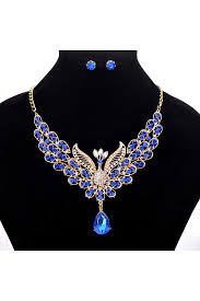 retro diamond peacock shaped water drop pendant necklace earrings blue pink queen