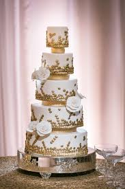 Cakes Desserts Photos 5 Tier White And Gold Cake Eclectic