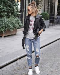how to wear boyfriend jeans with leather jacket and white sneakers 2019