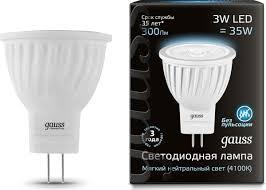 """<b>Лампа</b> светодиодная Gauss """"<b>LED</b>"""", D35х45, 3W, <b>MR11</b>, GU4 ..."""