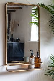 light gold tall bathroom mirror with