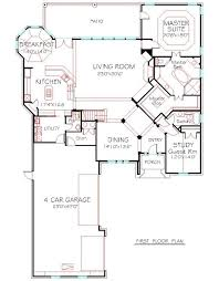 4 car garage house plans. FIRST FLOOR PLAN : HOUSE # 4155-171, Stone Country Traditional Front Elevation 4 Car Garage House Plans L