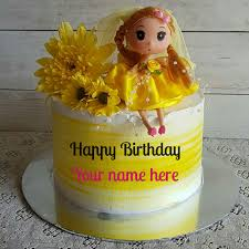 Barbie Doll Birthday Cake With Name On It For Kid