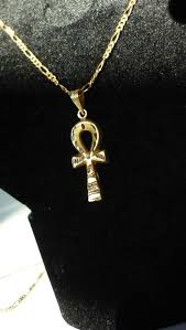 gold necklace 18 kt with egyptian ankh