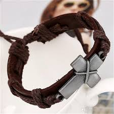 womens mens leather cross bracelet vintage braided adjustable charm bracelets for women men retro jewelry fashion accessories whole gold charms charm