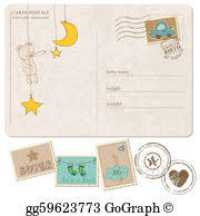 baby postcard vector clipart baby boy arrival postcard with set of stamps