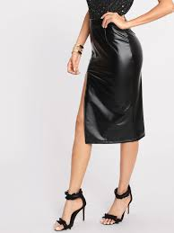 shein split front faux leather skirt