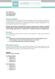 free personal employment history cv template download wise ones
