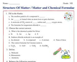 matter and chemical formula class 7