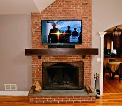 installation on brick fireplace in tv over diy mount wires run inside mantle