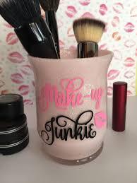 makeup brush holder makeup brush cup bathroom vanity makeup glitter makeup brush holder gift for her gift makeup junkie by susanscraftboutique on