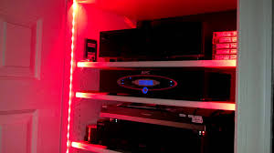 led strip lighting by bazz for a v closet home theatre post install you
