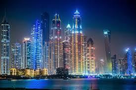 Dubai Night Lights Illuminated Scenic Free Image From