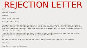 Sample Offer Rejection Letter