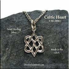 sterling silver celtic heart charm celtic hearts necklace celtic wedding jewelry