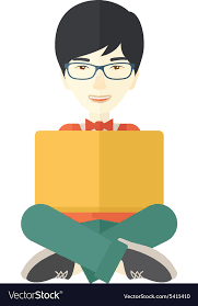 chinese guy reading a book vector image