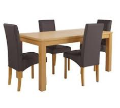 Collection Linwood Oak Veneer Ext Table & 4 Chairs - Choc