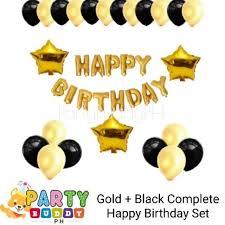 ₱199 only! <b>Gold</b> + Black Complete Happy Birthday Set   Shopee ...