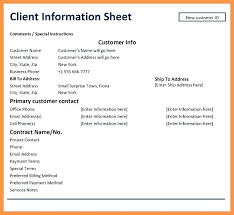 Customer Information Template Client Contact Form Template Customer Information Sheet