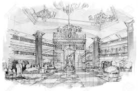 Interior design drawings perspective Hospital Sketch Perspective Stripes Lobby Black And White Interior Design Stock Photo 63916674 123rfcom Sketch Perspective Stripes Lobby Black And White Interior Design