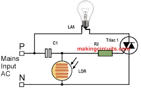 Ldr Circuit Diagram For Street Light Day Night Automatic Triac Switch Circuit Electronics Mini