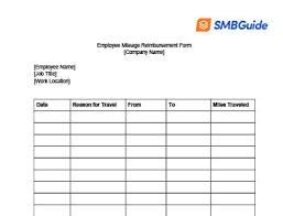 Reimbursement Template Mileage Reimbursement For Employees Info Free Download