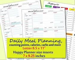 Day Tracker Planner Weight Watchers Food Journal Template Printable Daily Points And