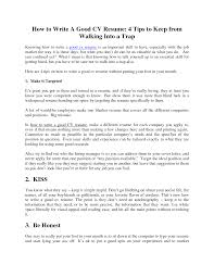 how to write a proper resume getessay biz how to write a good cv 4 tips keep from walking into trap for how to