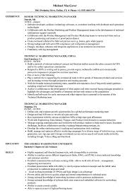 Download Technical Marketing Manager Resume Sample as Image file