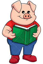 pig reading a book image isolated on transpa background png