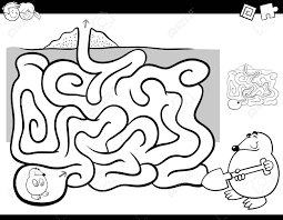 黒と白の漫画ほくろ動物キャラクターぬりえと子供の教育迷路や迷宮活動ゲームの例