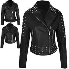 womens faux leather short studded jacket biker punk