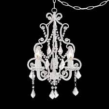 plug in mini chandelier white with crystal accents plug in swag chandelier swag plug in mini