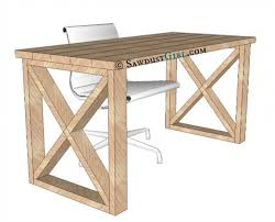 Free Plans To Build This X Leg Desk From Sawdust Girl Diy in Diy Office Desk
