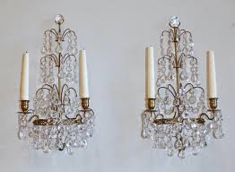 pair of swedish gustavian style crystal and bronze candle wall crystal wall sconce light fixture crystal cheap sconce lighting