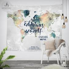 adventure wall tapestry world map watercolor hanging grunge at