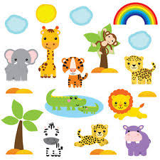 kids childrens cute jungle safari animal wall stickers cutebabysafari safr 4 on jungle animal wall art with jungle wall stickers ebay