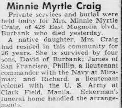 Obituary for Minnie Myrtle Craig - Newspapers.com