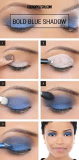 what you will need eye primer blue eyeshadow in 2 shades a lighter and a darker one blue eye pencil white eye pencil blending brush