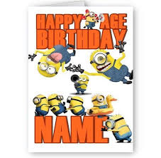 Personalised Despicable Me Minions Name A5 Happy Birthday Card