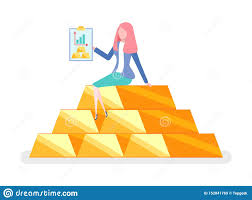 Best Financial Charts Best Invest Woman Sitting On Pile Of Gold Charts Stock