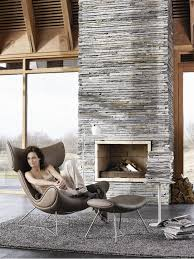 modern stone fireplace gray stone modern style interior design living room decor ideas
