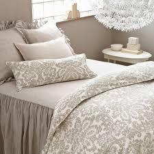 elegant bedroom design with pine cone hill imperial damask platinum duvet cover and decorative pillows plus