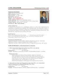 Sample Cv Of Civil Engineer Pakistan Engineer