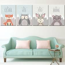 Kids Room Decor <b>Cute Cartoon Animal</b> Deer Fox Bear <b>Owl</b> Print ...