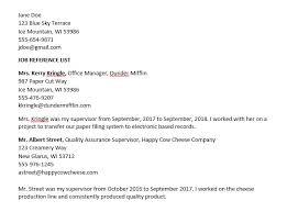 Sample Reference List For Job Sample Job Reference Page