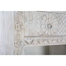 carved solid mango wood bookcase in white wash 185cm carved solid mango wood