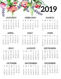 Free Printable 2019 Calendar Yearly One Page Floral Paper