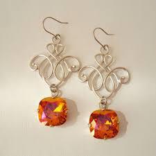orange geometric earrings statement crystal earrings wedding e