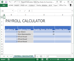 excel payroll template payroll calculator with pay stubs for excel